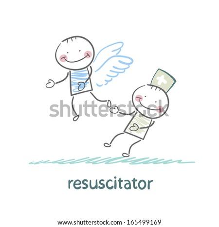 resuscitator keeps flying away into the sky patient - stock vector