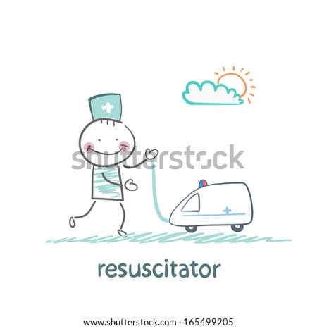 resuscitator played with toy ambulance - stock vector
