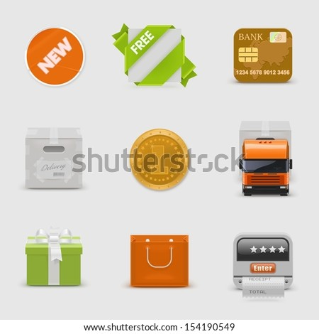 retail and delivery vector icon set - stock vector