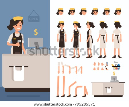 Retail Cashier Woman Character Objects Animation Stock Vector ...
