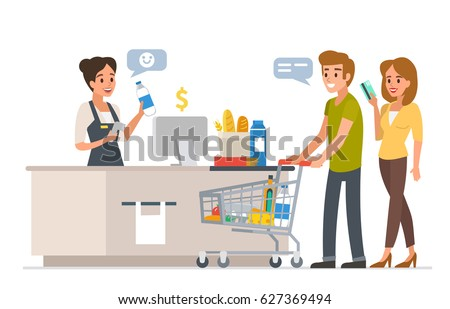 Retail Woman Cashier Barcode Scanner Young Stock Photo (Photo ...