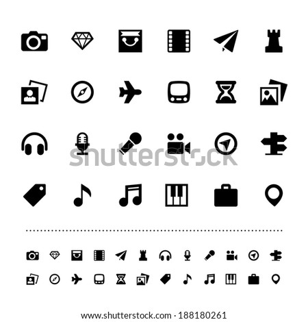 Retina travel and entertainment icon set .Illustration eps10 - stock vector