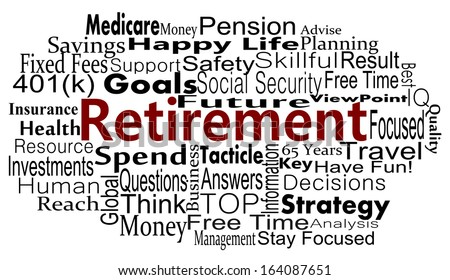 Retirement and savings concept with word cloud - stock vector