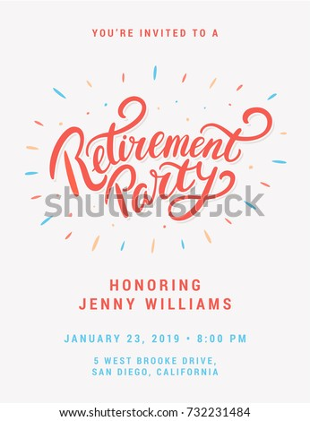 Retirement Party Invitation Stock Vector   Shutterstock