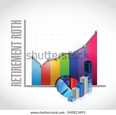 retirement roth business graphs illustration design over a white background