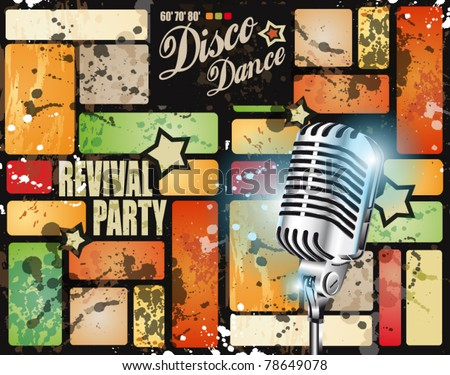 Retr? revival disco party flyer or poster for musical event - stock vector