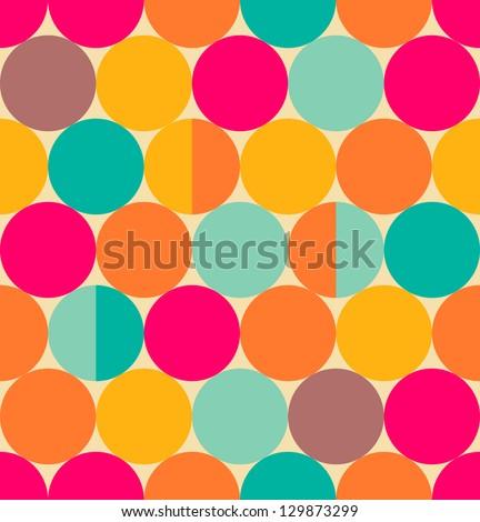 Retro abstract circle seamless pattern - stock vector