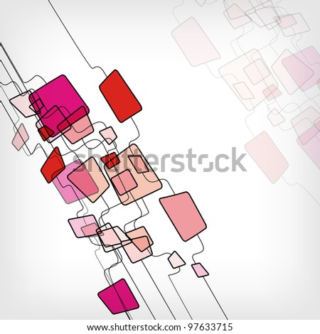 Retro Abstract Design Colorful Square Template - vector illustration - stock vector