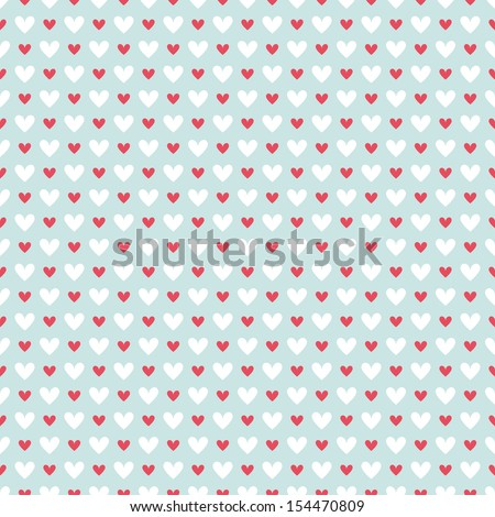 Retro abstract heart seamless pattern. Vector illustration for romantic nostalgia design. Can be used for wallpaper, cover fills, web page background, surface textures. Red and white hearts on blue - stock vector