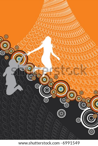 retro abstract jumping girls (vector)