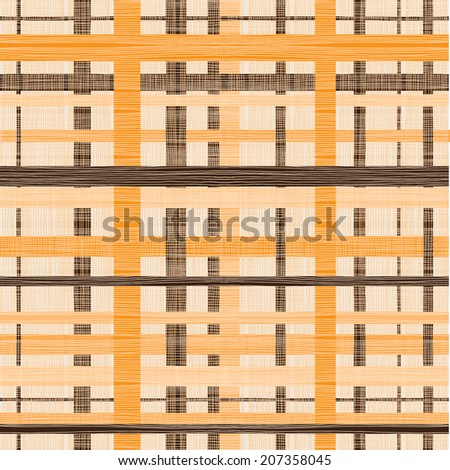 retro abstract seamless background with fabric texture in brown and orange  - stock vector