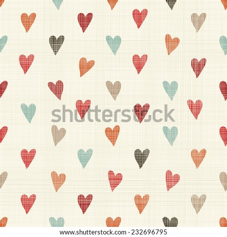 retro abstract  seamless pattern with doodle colorful hearts on texture background - stock vector