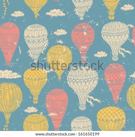 Retro Air Balloon Pattern - stock vector