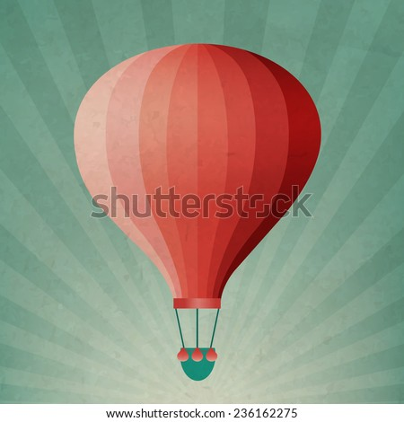 Retro Air Balloon With Gradient Mesh, Vector Illustration - stock vector