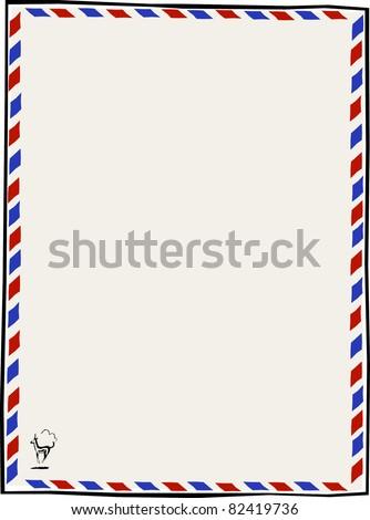 Retro Air Mail Par Avion Letterhead Vector Illustration - stock vector