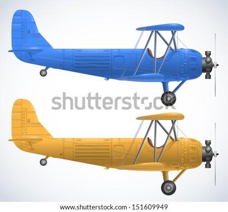 retro airplanes - stock vector