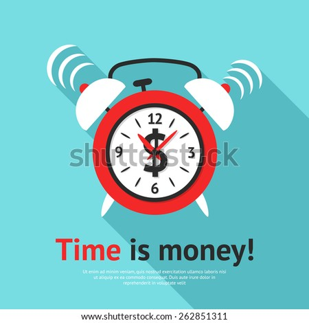 Retro alarm clock business poster with time is money text flat vector illustration - stock vector