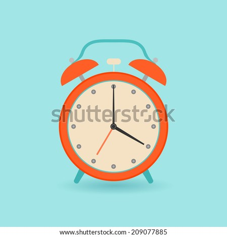 Retro alarm clock. Flat style. - stock vector