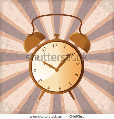 retro alarm clock on a sun rays background with grunge - stock vector