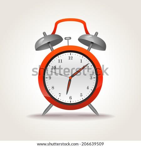 Retro alarm clock, vector illustration - stock vector