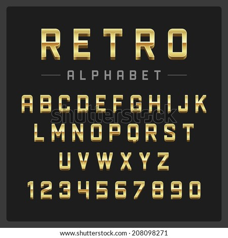 Retro alphabet font. Type letters and numbers golden metal style Vector design elements.  - stock vector