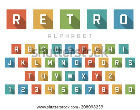 Retro alphabet font. Type letters and numbers Vector design elements.