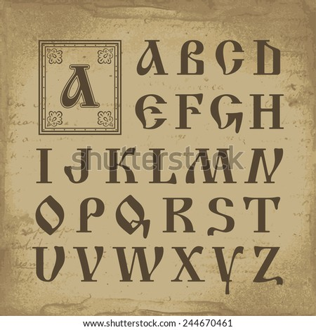 Retro alphabet in old Russian style vector illustration - stock vector