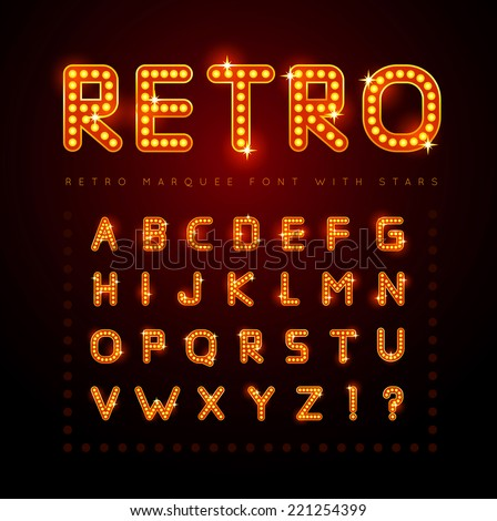 Retro alphabet set with lamp and stars, vector illustration. - stock vector