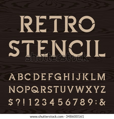 Retro Alphabet Stencil Font Letters Numbers Stock Vector (2018 ...