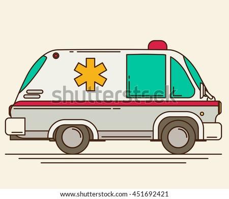Retro ambulance vector car - stock vector