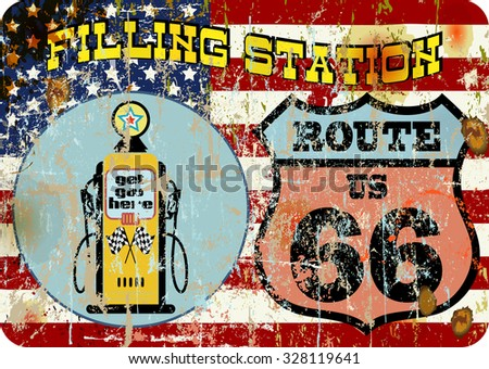 retro american gas station route sixty six sign, super grunge vector, fictional artwork - stock vector