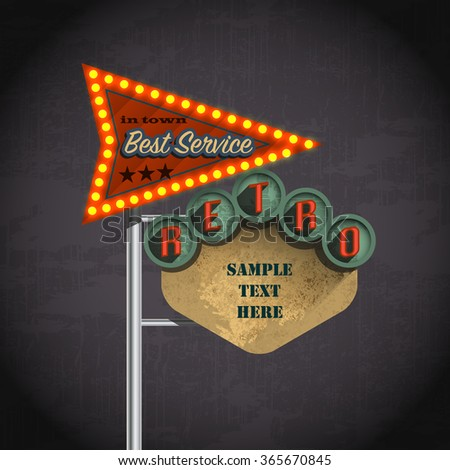 Retro Americana style road sign - stock vector
