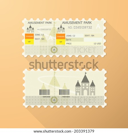 Retro amusement park ticket card Classic design. - stock vector