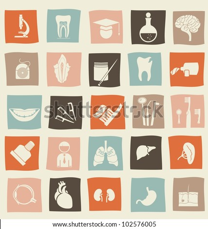 retro anatomical icons set - stock vector