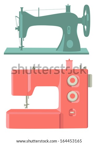 Retro and modern sewing machines isolated on white - stock vector