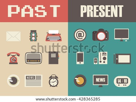 retro and modern technology, past to present - stock vector