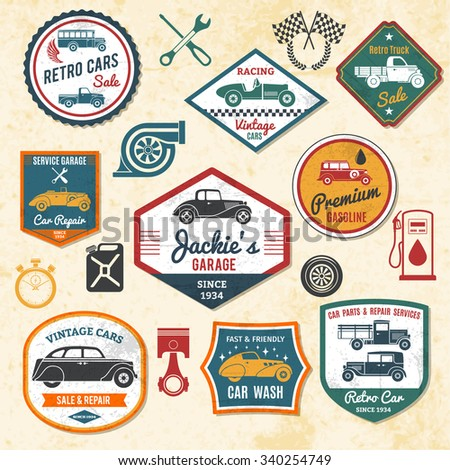 Retro and old car repair shops labels set isolated vector illustration - stock vector