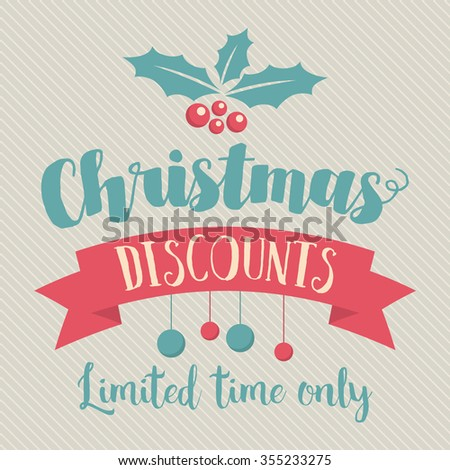 Retro and vintage Christmas and seasonal sale and discounts. Retail banner and poster. - stock vector