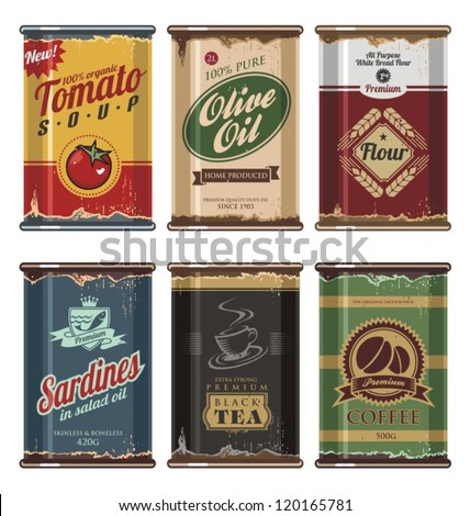 Retro and vintage food cans vector collection. No gradients, no transparencies, no drop shadow effects, only fill colors. Grunge effects can be easily removed for brand new can. - stock vector