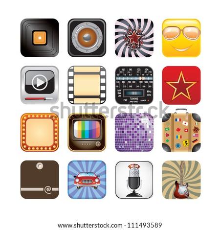 retro app icons - stock vector