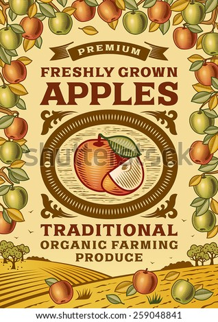 Retro apples poster. Fully editable vector illustration with clipping mask. - stock vector