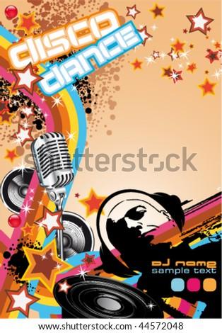 Retro Art Disco Dance Background with DJ Silhouette - stock vector
