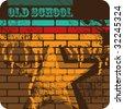 Retro artistic brick wall. Vector illustration. - stock photo