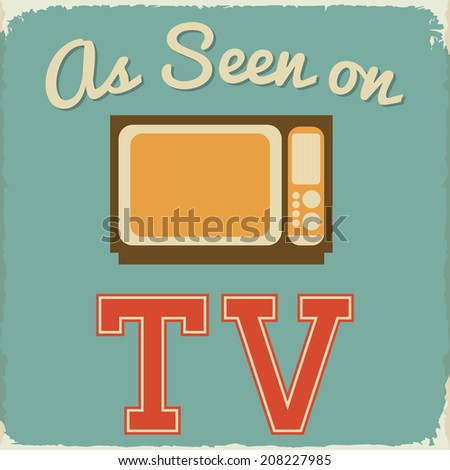 Retro As Seen on TV Sign on Teal Background - stock vector
