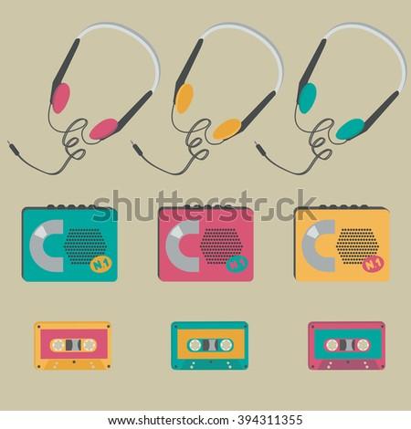 Retro audio cassette players, tapes, headphones - stock vector