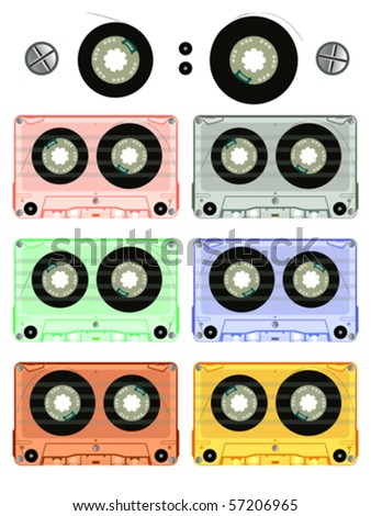 retro audio cassette set against white background, abstract vector art illustration