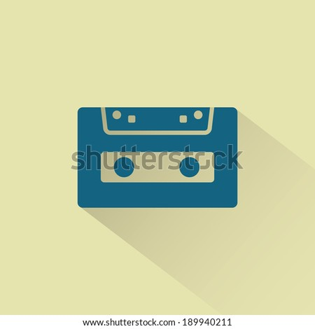 Retro audio cassette vector icon with shadow. - stock vector