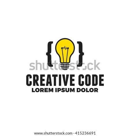 Retro authentic logo for programming. Vintage bulb. Creative code. Eps 10. Vector. - stock vector