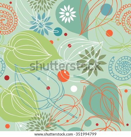 Retro autumn mix. Nature seamless pattern. Cute background with flowers - stock vector