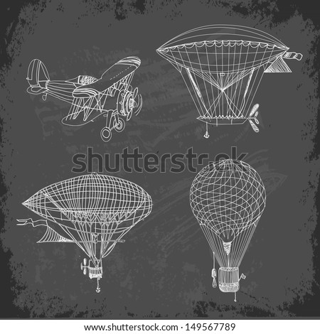 Retro aviation collection on blackboard, Vector illustration. - stock vector